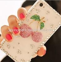 Handmade Red Cherry Diamond Hard Back Bling Case For iPhone 4 4s 5 5g