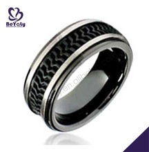 Laser cut shiny male party black enamel ring high italian jewelry