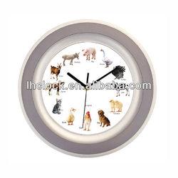 round plastic animal sound wall clock wtih 12 music hourly