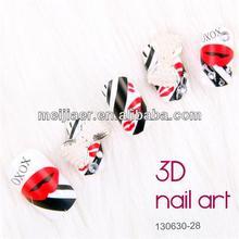 3D Diamond false nail fashion RED LIP design Nail art Tips