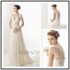 vestidos de novia floor length white chiffon lace back up V neck custom make TM1214 lace and chiffon wedding dress