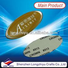 Fashion oval self adhesive sticker label soft epoxy nameplate emblem metal decorative nameplate badges(LZY600024)