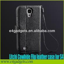 2013 Best selling Luxury lichee pattern Folio wallet genuine leather flip case for samsung s4