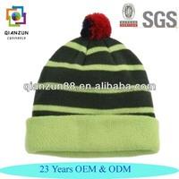 Knitting Pattern Hat Striped Knitted Beanie Bobble Winter Ski Pom Pom Hat