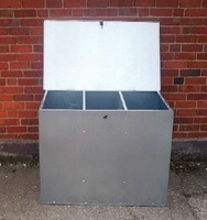 large galvanised feed bin three comparments