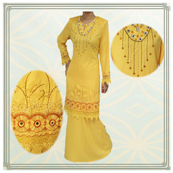 Latest design embroidered and beaded wholesale abaya islamic clothing