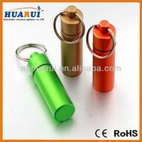 Manufactory Mix Color Mini Aluminum Pill Box Case Bottle Holder Container Key chain