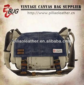 HOT SELL BUG denim vintage canvas messenger bag/washed canvas bag with leather trim/canvas shoulder bag wholesale
