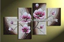 hand-painted Beautiful Purple flower High Q. Home Decoration Modern Landscape Oil Painting on canvas 4pcs/set mixorde