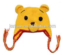 Fashion winter children knitted crochet bear hats