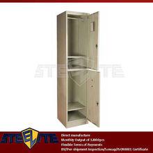flexible and adjustable narrow two door metal wardrobe/2-tier iron almirah with two hanging rails & adjustable shelves