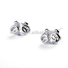 Promotion big diamond earrings white zircon stone earrings