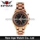 Epozz japan movt gold band mk mens stainless steel quartz gold watch
