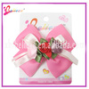 Rose red ribbon fashion hair bow with floral accessories(XH1001--308)