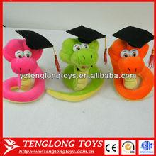 3 colors cute animal graduation snake stuffed animal plush toy