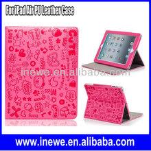 For iPad Air Cute Cartoon Folio PU Leather Case