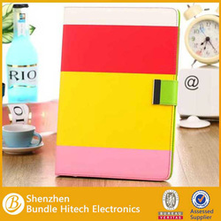 High quality Rainbow PU Leather Case for iPad air 5, stand case for ipad air