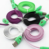 Colorful Noodle flat micro USB data charger cable for Samsung & htc & Moto white