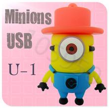 2013 Hot!!! New Despicable Me 2 Minions Cartoon U Disk 256MB 4GB 8GB 16GB 32GB 64GB USB 2.0 Flash Memory Stick Gift USB Flash Dr