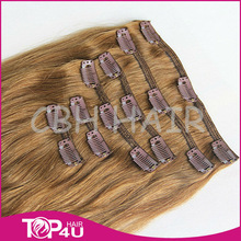 Hot Selling Wholesale Virgin Malaysian human hair extentions clip in 200g