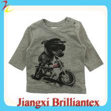 Baby Boys Grey Dog On Motorbike print Top organic cotton baby clothing in china