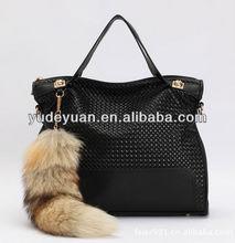 2013 classic hit color portable shoulder handbags,fox hair women handbag