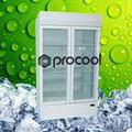 1400l promocional de la puerta doble de pie refrigerador enfriador comercial para la bebida