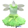 De color verde lima de diamante de imitación pettiskirt princesa de color verde lima tapa del tanque de tinkerbell vestido de fiesta 1-7y