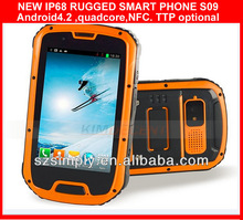 """IP68 QUAD CORE 4.3""""ANDROID SMART MOBILE PHONE ,GPS,AGPS , PTTand NFC optional S09 outdoor dual sim cell phone"""