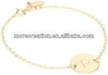 "Fashion gold alloy initial letter ""P"" charm bracelet ,ID identity bracelet"