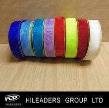 ORH716 Decorative Colorful Nylon Organza Ribbon Gold Edge