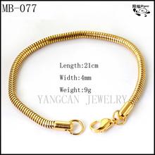 Wholesale gold filled stainless steel women's snake chain bracelet