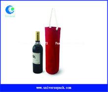 Shock resistance velvet wine bottle bag with rope handle for wholesale