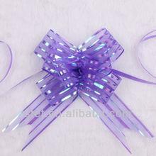 Wholesale large purple organza gift ribbon pull bow