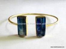 Kyanite Vermeil 925 Sterling Silver Gemstone Bangle, Rough Gemstone Gold Plated Adjustable Jewellery, Raw Gemstones Jewelry