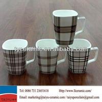 small square ceramic mug with special handle