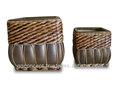Wp-13030-a - fontes do jardim - potes de cerâmica com rattan e ervas marinhas tecelagem