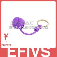 purple Custom weave paracord keychain monkey fist knot
