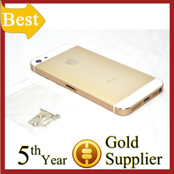 Plain Colored Hard Metal Back Battery Housing Cover Case For Iphone 5 Champagne Gold