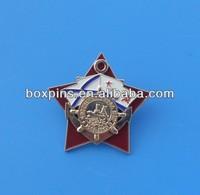 soft enamel metallic star badge with screw back