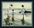 plaj tuval anne ve çocuk yağlıboya