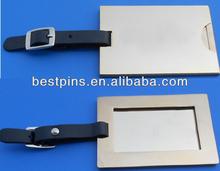 metal luggage tag with leather loop, custom luggage tag with logo printed, blank alloy luggage tag