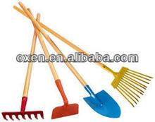 children's garden tools, long wooden handle garden tools ,rake ,shovel , hoe