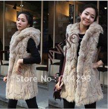 2013 Autumn winter women fashion imitation rabbit fur with hooded fur long vest Black/Apricot 7668