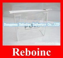 White PVC transparent bag/PVC zipper bags with plastic bone Reboinc-01