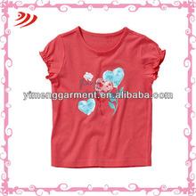 hot baby girl tee 2014 girl ruffle sleeve t shirt wholesale