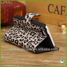 leopard design leather wallet case for iphone 5c