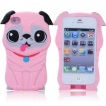 Hard Plastic Shar Pei Dog Protective Back Case Cover for iPhone 4G - Pink