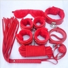 Hot Red Bondage Set 8 pcs Kit Fetish Whip Gag Blindfold Cuffs Collar Clamps Adult Sexy Toy for women