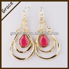 Grace jewelry alloy dangle gold plated earrings